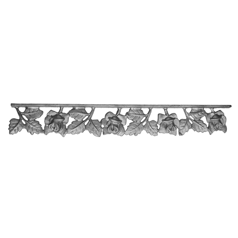"""19"""" Wide Cast Iron Valance, Rose Style, Double Faced"""