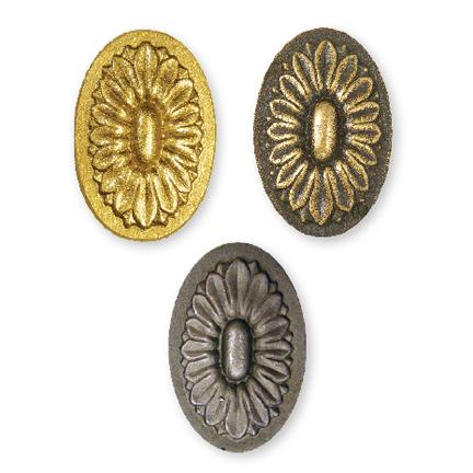 """Bronze Oval Sunflower Rosettes, 3-1/2"""" Tall"""