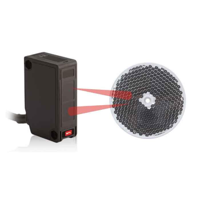 Photoelectric Beam Sensor, UL325 Rated, Retro-Reflective, Monitored