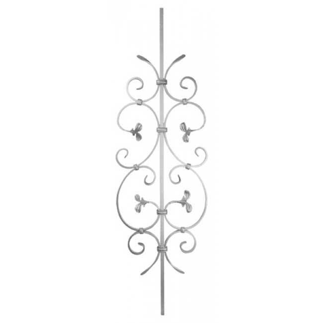 "1/2"" sq. Steel Scroll Panel w/Ribbon & C-Scrolls with Leaves, 39-3/8"" Tall"