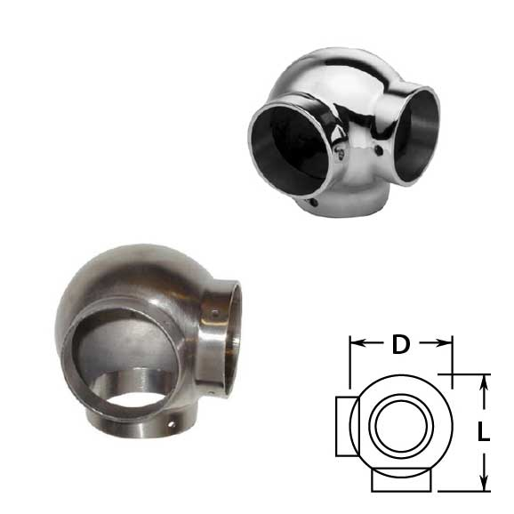 Ball Side Outlet Ell in Stainless Steel