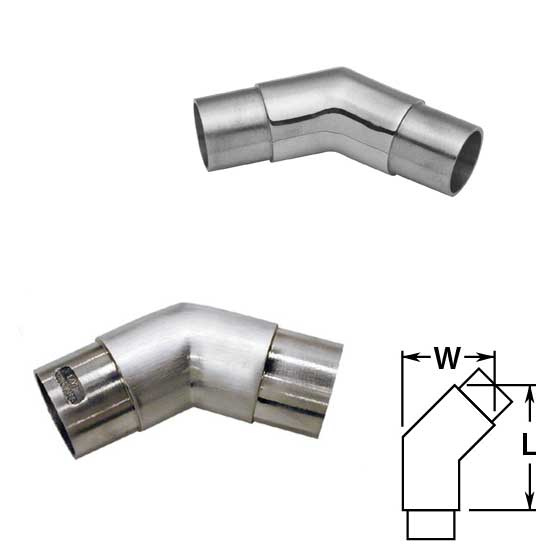 Flush 135 degree Angle in Polished and Satin Stainless Steel