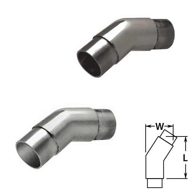 Flush 147 degree Angle in Polished and Satin Stainless Steel