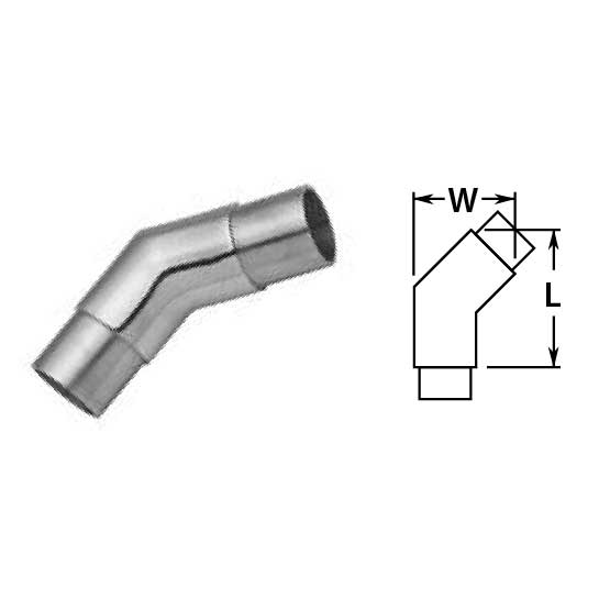 """2"""" Polished Stainless Steel Flush 135 degree Angle"""
