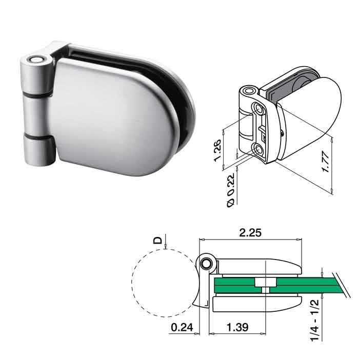 """90 degree Hinge, Tube to Glass, for 1.9"""" dia. tube, 316 Satin Stainless Steel, Sold Individually"""