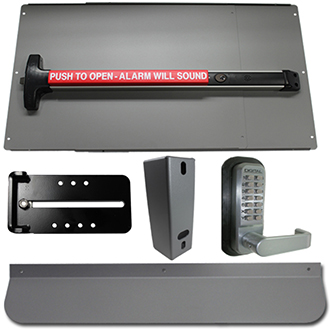 Detex Alarm Security Kit Panic Bar and Panic Shield in Silver