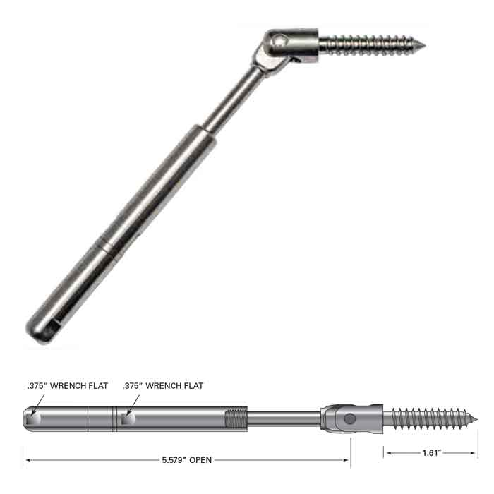 """Push Lock Tensioner w/Lag Clevis for 3/16"""" Cable"""