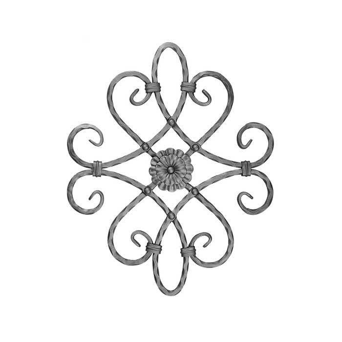 """1/2"""" sq. Forged Steel Scroll Panel w/Floral element on one side, 21"""" Tall"""