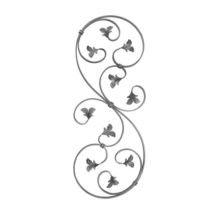 """1/2"""" x 1/4"""" Forged Steel S-Scroll Panel with Leaves"""