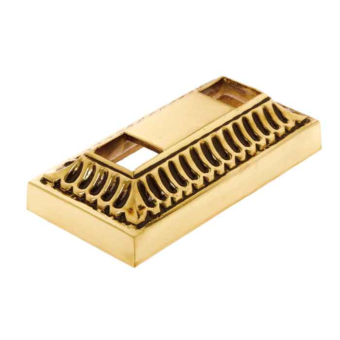 "Rectangular Scalloped Brass Base Shoe for 5/8"" sq., 2 openings"