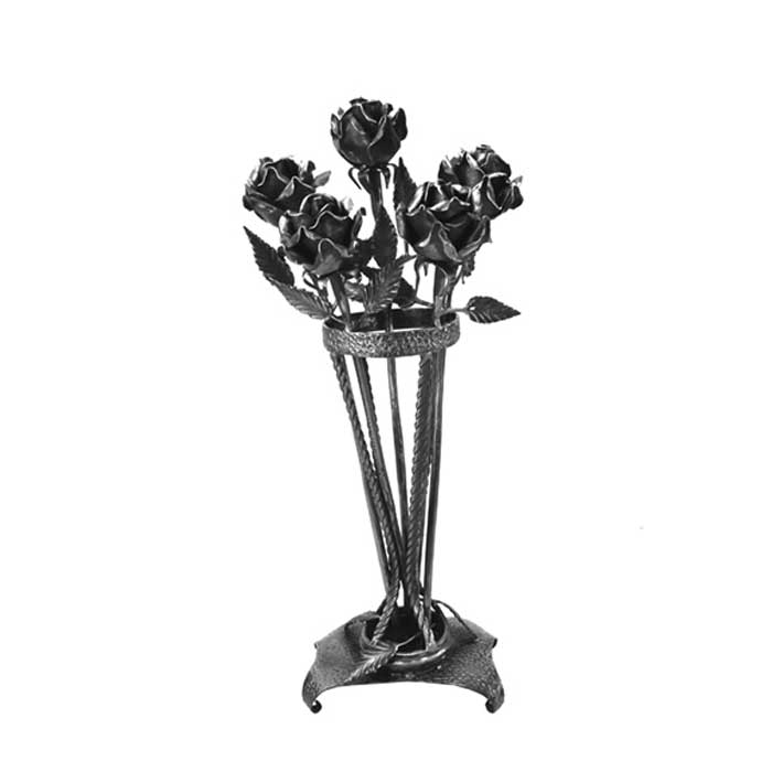 "26"" Tall Rose Bouquet, Steel, Hand Forged"