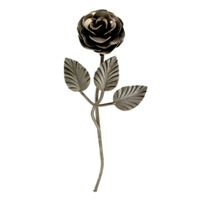 "2-3/4""dia. Stamped Steel Rose w/Leaves and Stem, 7-7/8"" Tall"