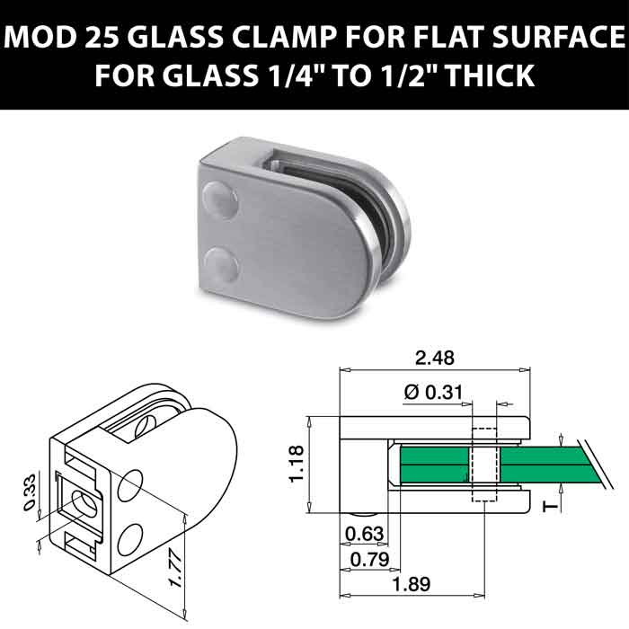 """MOD 25 Rounded Glass Clamps for Flat Surface for 1/4"""" to 1/2"""" Thick Glass"""