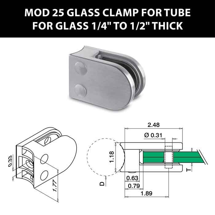 """MOD 25 Rounded Glass Clamps for 1.9"""" Dia. Tube for 1/4"""" to 1/2"""" Thick Glass"""