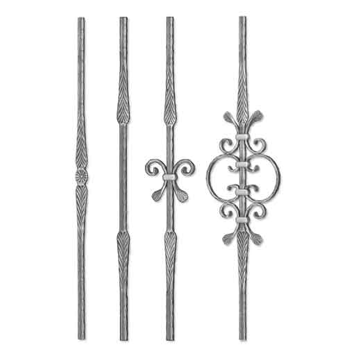 """Grande Forge Rustique Series Forged Steel 5/8"""" sq. Balusters w/Hammered Edges & Scroll Centers"""