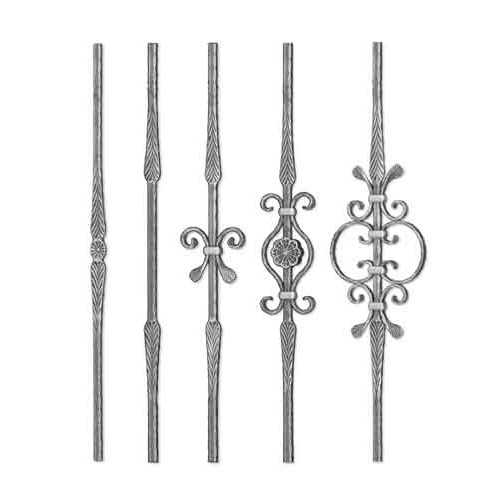 """Grande Forge Rustique Series Forged Steel 9/16"""" sq. Balusters w/Hammered Edges & Scroll Centers"""