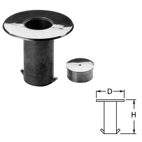 """Floor Sockets with Cap in Stainless Steel for 2"""" dia. Tubing"""