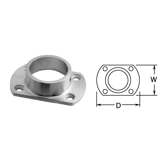 """1-1/2"""" Satin Stainless Steel Cut Wall Flange"""
