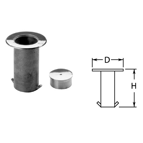 Floor Sockets with Cap in Satin Stainless Steel