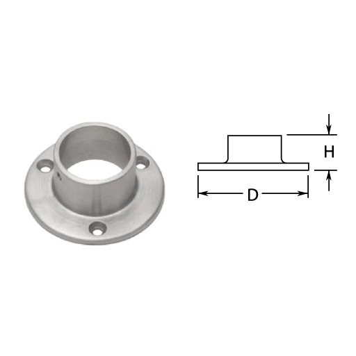 "1-1/2"" Satin Stainless Steel Wall Flange"