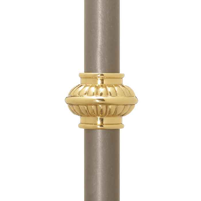 "Picket Collar for 1-3/16"" dia., Polished Brass, 1-3/4"" Tall, M3 Locking Screw"