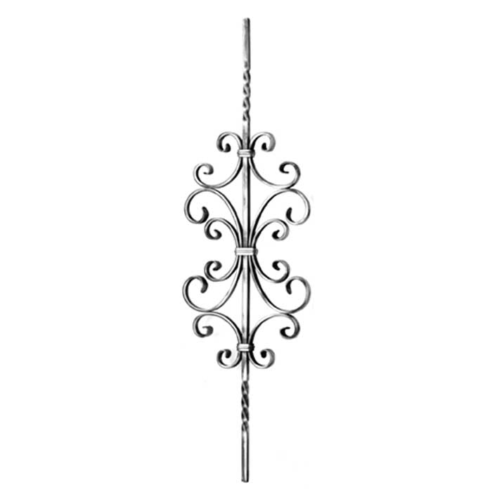 """1/2"""" sq. Forged Steel Panel with Various Scrolls & Bar Twists, 35-7/16"""" Tall"""