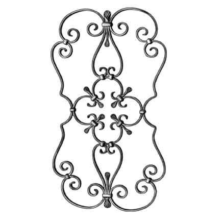 """1/2"""" x 1/4"""" Steel Scroll Panel, 34-7/16"""" Tall, 19-1/8"""" Wide"""