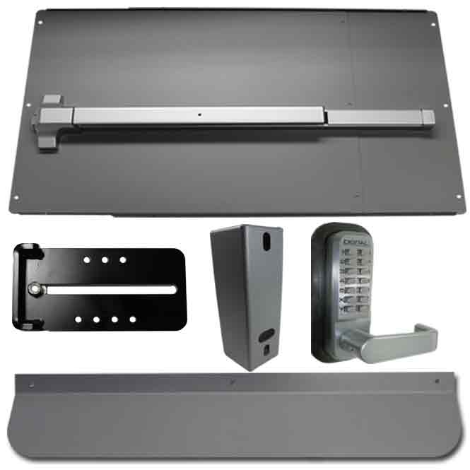 Security Panic Bar and Panic Shield Kits in Black and Silver