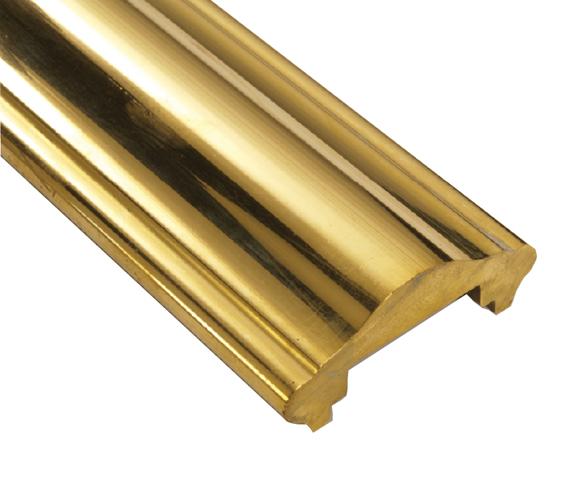 """Solid Brass Handrail Cap Extrusion in 2"""" and 2-1/4"""" wide"""