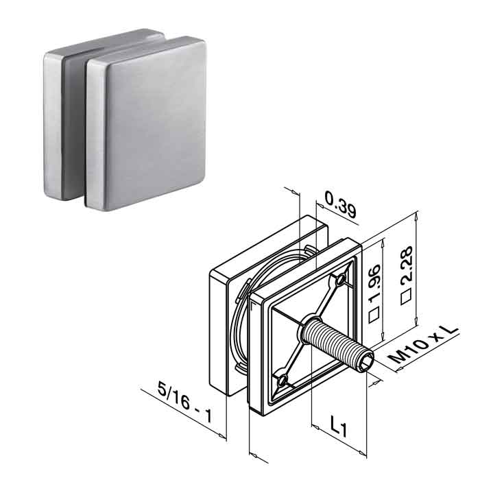 "2-1/4"" sq. Glass Adapter for 5/16""-1"" Glass, 2-3/8"" M10 Bolt, Fascia Mount, 316 Stainless Steel"