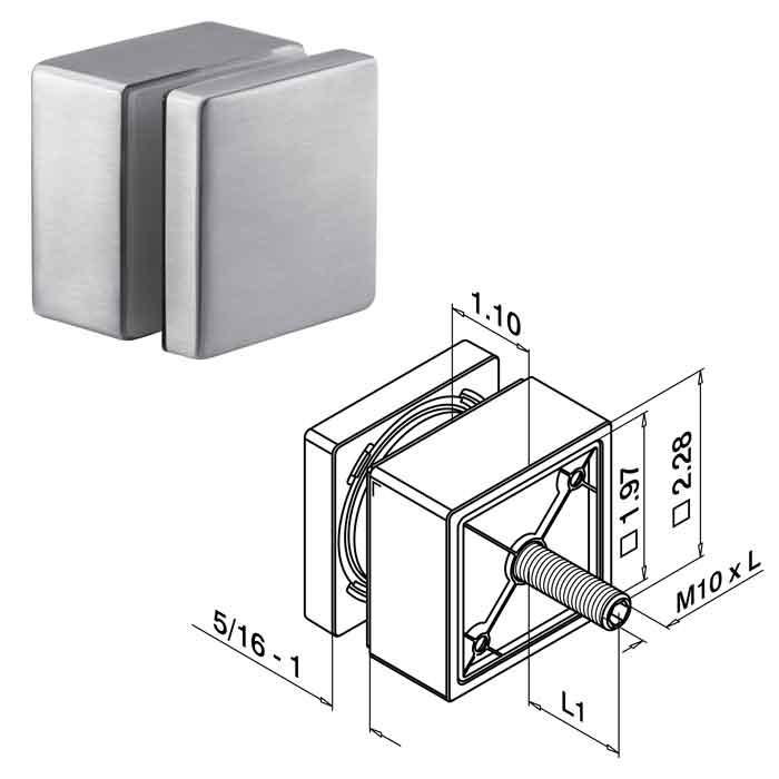 "2-1/4"" sq. Glass Adapter for 5/16""-1"" Glass, 3-1/8"" M10 Bolt, Fascia Mount, 316 Stainless Steel"