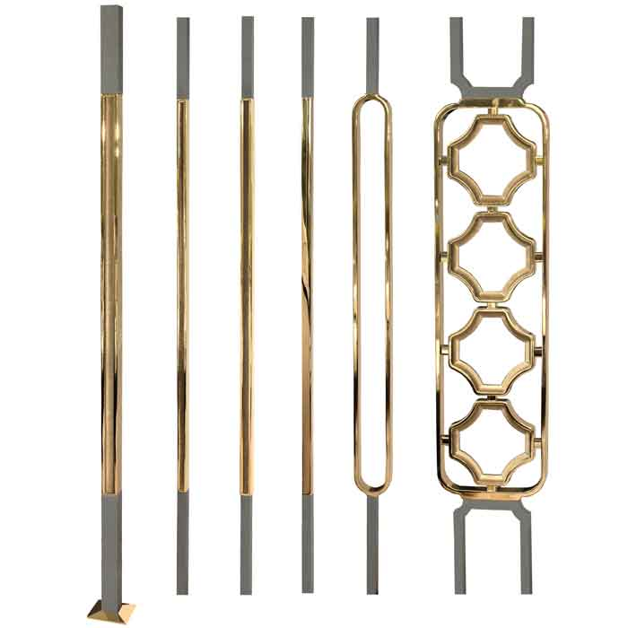 Grande Forge Square Series Posts, Balusters and Panels with Brass PVD Coating and Mild Steel Ends