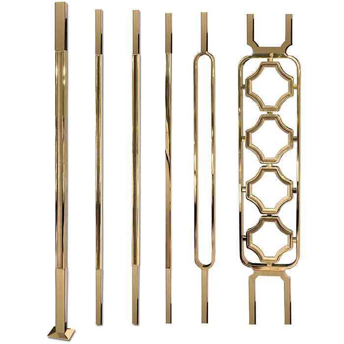 Grande Forge Square Series Posts, Balusters and Panels with Brass PVD Coating and Stainless Steel Ends