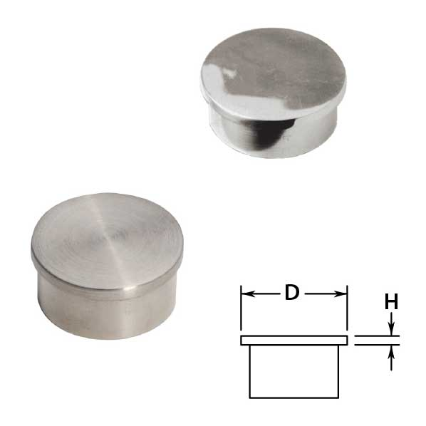 Flush End Caps in Stainless Steel