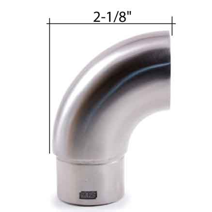 """Flat Terminal End Fitting for 1-2/3"""" dia. Tubing, 316 Satin Stainless Steel"""