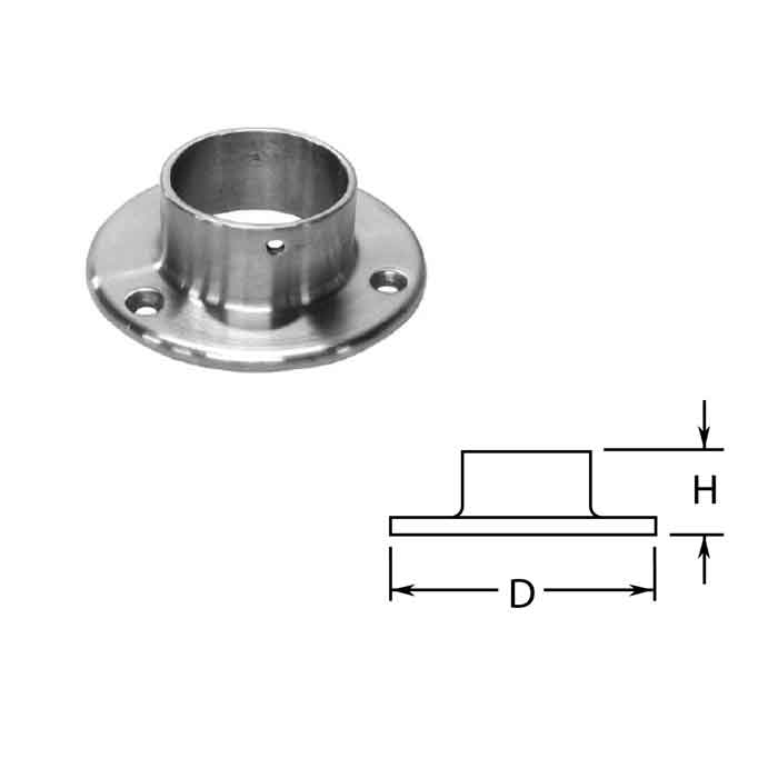 """Wall Flanges in Stainless Steel for 2"""" dia. Tubing"""