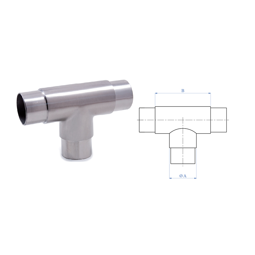 """3-Way Flush """"T"""" Fitting for 1-2/3"""" dia. Tubing, 316 Satin Stainless Steel"""