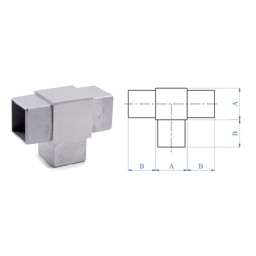 "3-Way Flush ""T"" Fitting for Square Tubing, 316 Satin Stainless Steel"