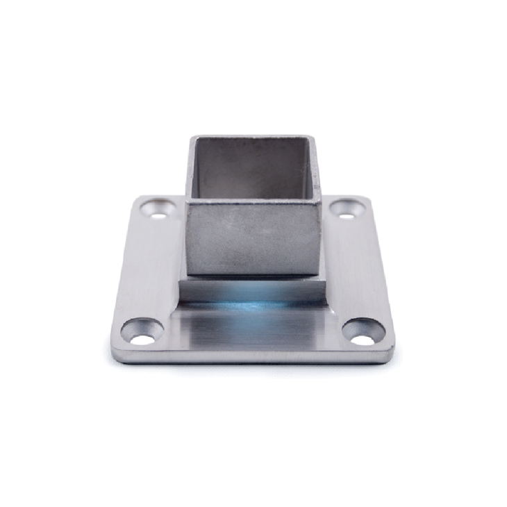 Anchorage Flange for Square Tubing, 4 Mounting Holes, 316 Satin Stainless Steel