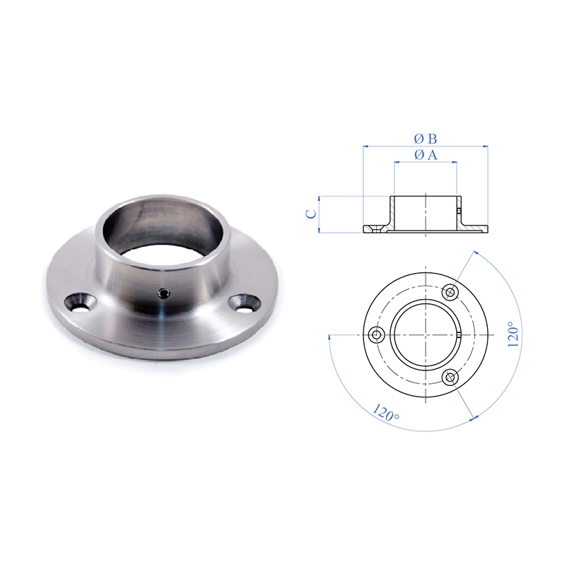 "Anchorage Flange for 1-2/3"" dia. Tubing, 3 Mounting Holes, 316 Satin Stainless Steel"