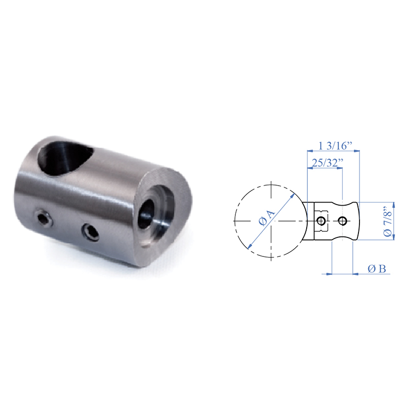 """Stainless Steel Bar Holders with 1/2"""" diameter Hole"""