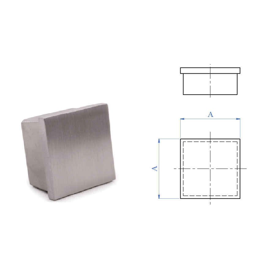 Flat End Cap for Square Tubing, 316 Satin Stainless Steel