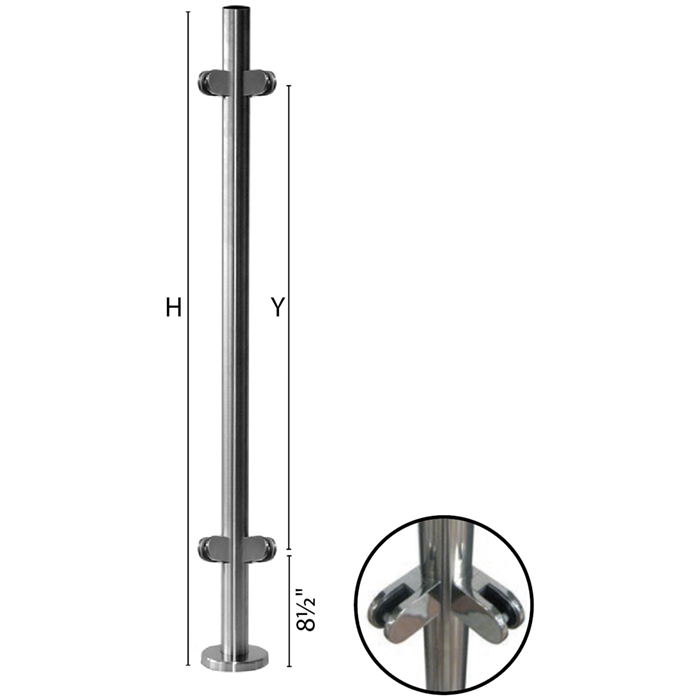"""Stainless Steel Round Corner Newel Post with Glass Clamps for use with 1-2/3"""" diameter x 5/64"""" Tubing"""