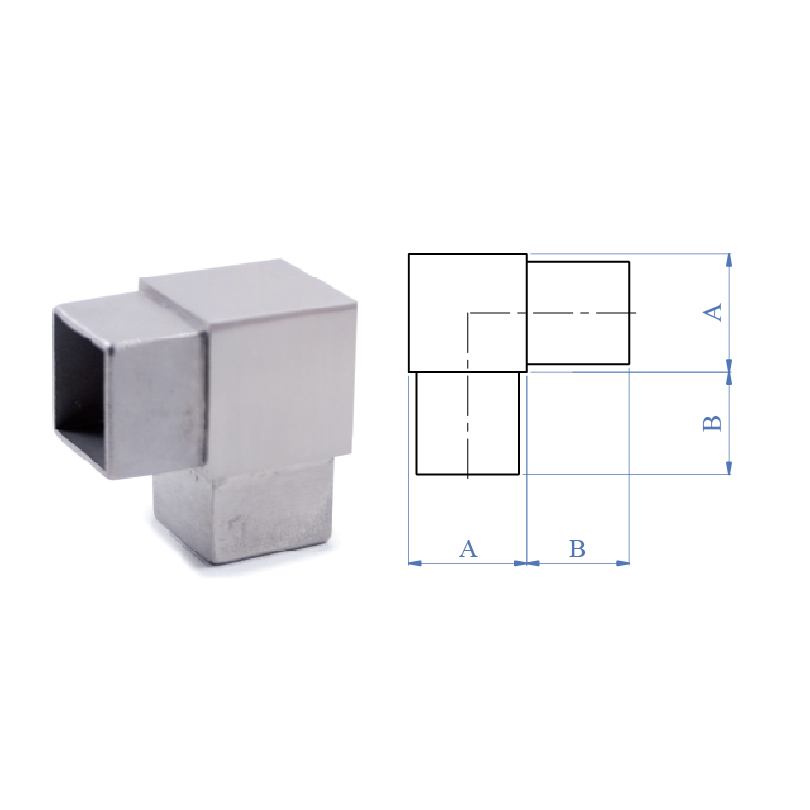 90 degree Elbow Fitting for Square Tubing, 316 Satin Stainless Steel