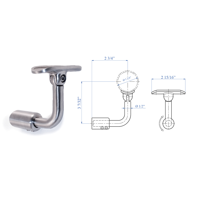 """Handrail Support for Lateral Fastening, Pivotable, for 1-2/3"""" dia. Tubing, 316 Satin Stainless Steel"""