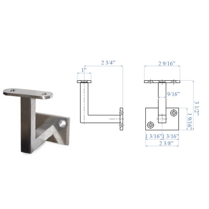 """Stainless Steel Rigid Handrail Support for 1-2/3"""" diameter Tube"""