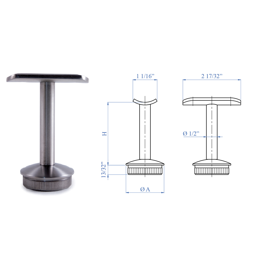 "Stainless Steel Handrail Support 2-61/64"" x 1/2"" diameter, Rigid"