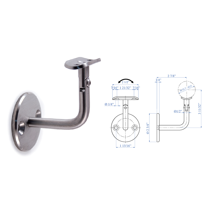 """Stainless Steel Handrail Support 2-61/64"""" x 2-61/64"""", 1/2"""" diameter, with Pivotable Rigid Mounting"""