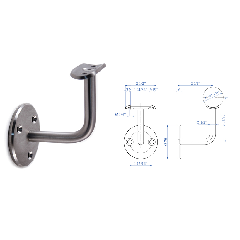 """Stainless Steel Handrail Support 2-61/64"""" x 2-61/64"""", 1/2"""" diameter, with Rigid Mounting Plate"""