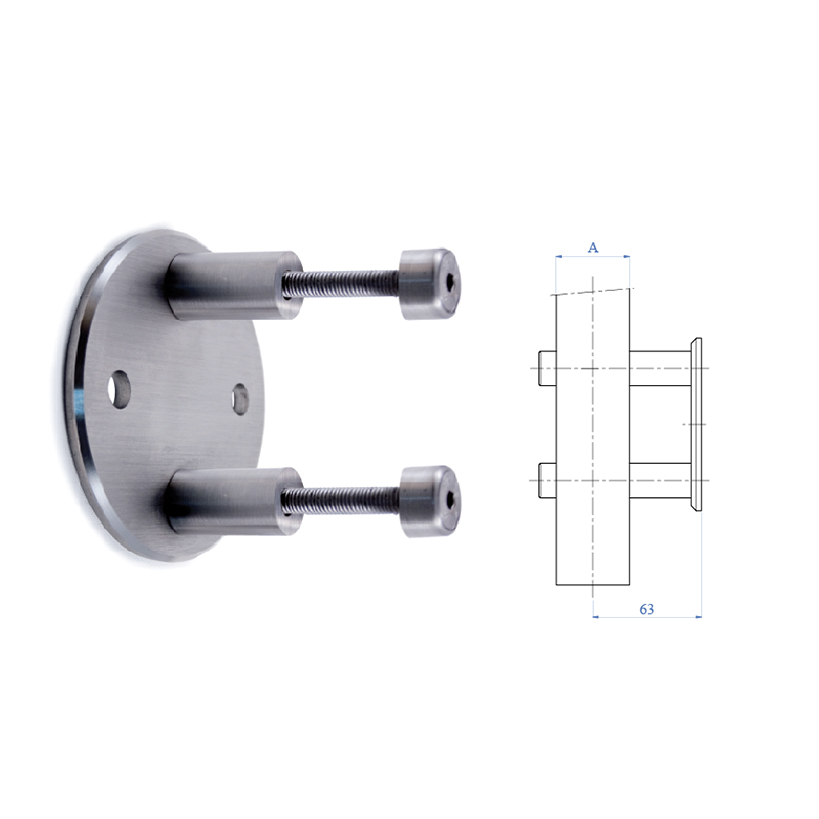 Lateral Anchorage Flange, Flat Faced, 304 Satin Stainless Steel